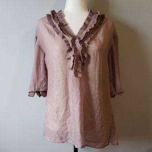 Ann Taylor Loft sheer polyester blouse size M